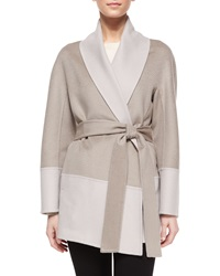 Escada Double Faced Wool Cashmere Wrap Topper Jacket Light Pewter