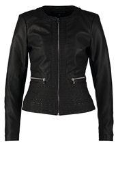 French Connection Plush Faux Leather Jacket Black