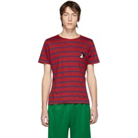 Gucci Red And Navy Disney Edition Linen Striped T Shirt