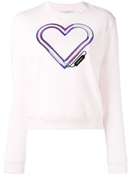 Carven Embroidered Heart Sweatshirt Pink Purple