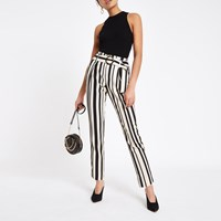 e9c4c5892d6 River Island Black Stripe Tie Waist Tapered Trousers