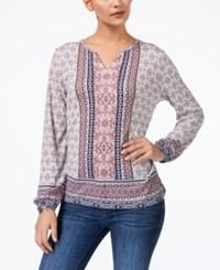 Style And Co Petite Mixed Print Elastic Cuff Top Created For Macy's Light Tlord Tiles