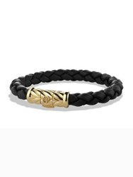 David Yurman 18K Yellow Gold And Braided Rubber Bracelet Black Gold