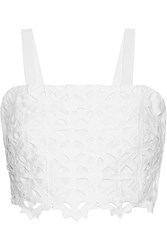 Miguelina Hazel Cropped Crocheted Cotton Top White
