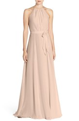 Amsale Women's 'Delaney' Belted A Line Chiffon Halter Dress