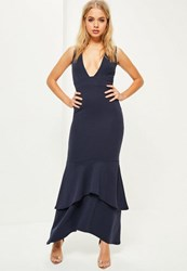 Missguided Navy Crepe Plunge Fishtail Maxi Dress