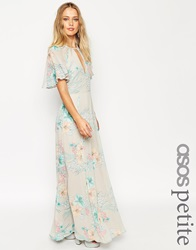 Asos Petite 70'S Faded Floral Flutter Sleeve Maxi Dress Greyfloral