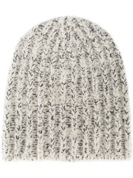 Isabel Marant Flecked Knitted Hat Women Polyester Wool Alpaca One Size Nude Neutrals