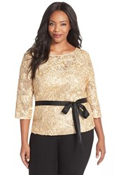 Plus Size Women's Alex Evenings Rosette Embroidered Lace Top Gold
