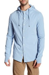 Spenglish Long Sleeve Stretch Button Down Hoodie Blue