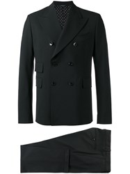 Dolce And Gabbana Double Breasted Suit Black