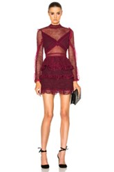 Self Portrait Dot Mesh Tiered Mini Dress In Red