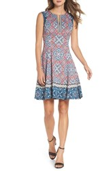Maggy London Print Scuba Fit And Flare Dress Soft White Red