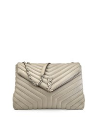 Monogram Y Quilted Xl Slouchy Chain Shoulder Bag Pearl Grey