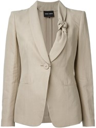 Giorgio Armani Knot Collar Blazer Nude And Neutrals