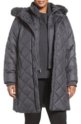 Larry Levine Plus Size Women's Faux Fur Trim Long Quilted Coat With Inset Bib Pewter