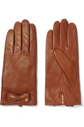 Tory Burch Bow Embellished Leather Gloves Brown