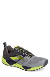 Brooks Men's Cascadia 12 Trail Running Shoe Grey Anthracite Lime Punch