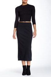 14Th And Union Solid Longline Ponte Pencil Skirt Black