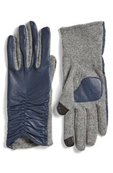 Women's Echo 'Touch' Ruched Leather Gloves