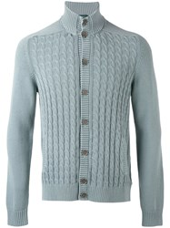 Zanone Cable Knit Cardigan Men Cotton 54 Blue