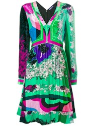 Emilio Pucci V Neck Long Sleeved Shift Green