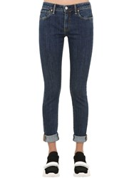 Burberry Skinny Mid Rise Roll Up Denim Jeans Blue