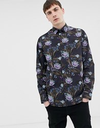 Ted Baker Shirt With Snake Print In Navy