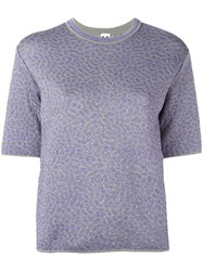 M Missoni Metallic Motif Knitted T Shirt Pink Purple
