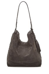 Vanessa Bruno Suede Etoile Hobo With Stud And Eyelet Trim Grey