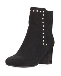 Neiman Marcus Jaimi Suede Studded Ankle Bootie Black Gold