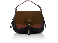 Fontana Milano 1915 Women's Wight Medium Leather And Suede Saddle Hobo Bag Grn. Pat.