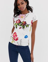 Ted Baker Fitted T Shirt In Berry Sundae White