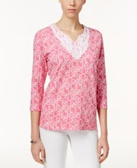 Alfred Dunner Octopus Print Lace Trim Tunic Flamingo