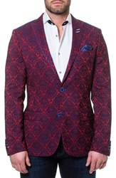 Maceoo Descartes Jacquard Linen And Cotton Blend Sport Coat Red