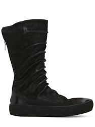 The Last Conspiracy Waxed Suede High Top Zip Up Sneakers Black