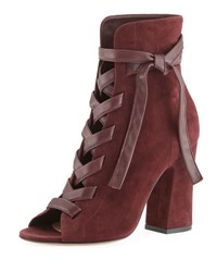 Gianvito Rossi Mid Calf Suede Open Toe Lace Up Bootie Purple