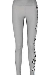 Adidas By Stella Mccartney Floral Print Climalite Stretch Leggings Gray