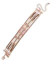 Inc International Concepts Rose Gold Tone Beaded Multi Row Bracelet Only At Macy's Blush