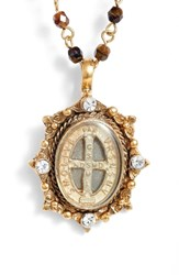 Virgins Saints And Angels Oval Pinto San Benito Magdalena Rosary Necklace Tobacco Tortoise Gold