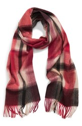 Women's Nordstrom Plaid Cashmere Scarf Red Red Beauty Combo