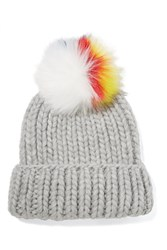 Eugenia Kim Rain Faux Fur Trimmed Cable Knit Wool Beanie Light Gray
