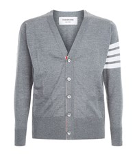 Thom Browne Striped Arm Cardigan Male Grey