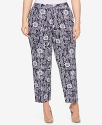 Tommy Hilfiger Plus Size Printed Cropped Pants Navy