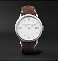 Baume And Mercier My Classima 40Mm Stainless Steel Leather Watch Ref. No. 10389 Cons White