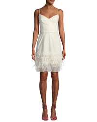 Milly Hannah Embroidered Sequin And Feather Dress White