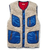 Kapital Shell Trimmed Faux Shearling Gilet Neutral