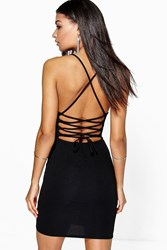 Boohoo Lace Up Back Detail Plunge Bodycon Dress Black