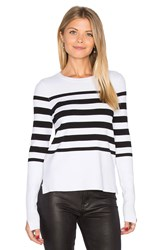 Autumn Cashmere Hi Lo Stripe Sweater Black And White