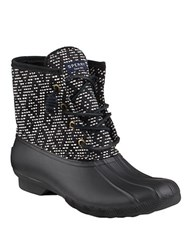 Sperry Saltwater Tribal Print Duck Boots Black